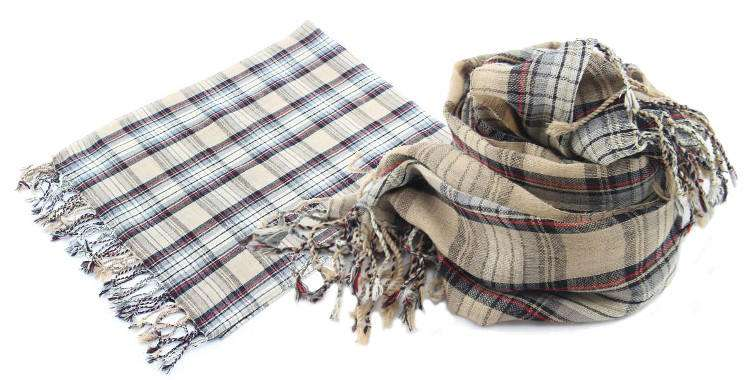 foulards en etamine de laine de Glen Prince, collection 2014, carreaux, tartans ecossais, coloris beige, dimensions 180cm x 70 cm.