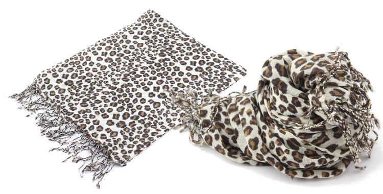 foulards en etamine de laine de Glen Prince, collection 2014, imprime panthere, leopard, dimensions 180cm x 70 cm.